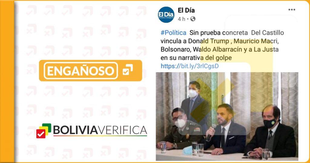 El Día no publicó que Del Castillo acusó a Macri, Bolsonaro, Albarracín y a la Justa en la narrativa de golpe