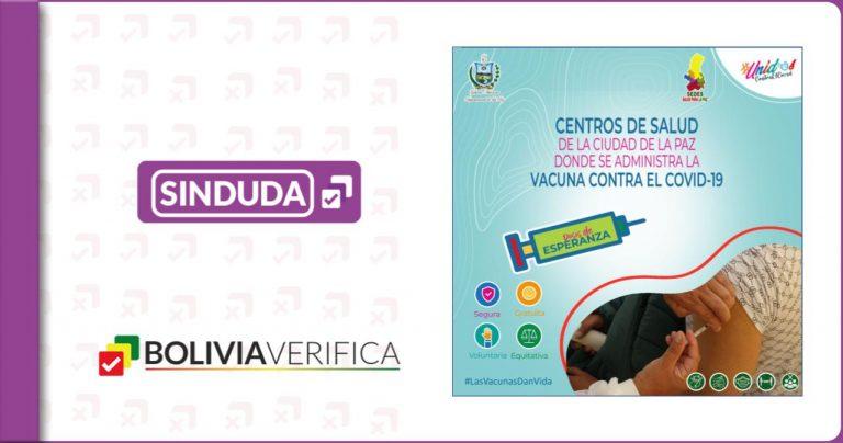 Información clave sobre puntos de vacunación en el departamento de La Paz