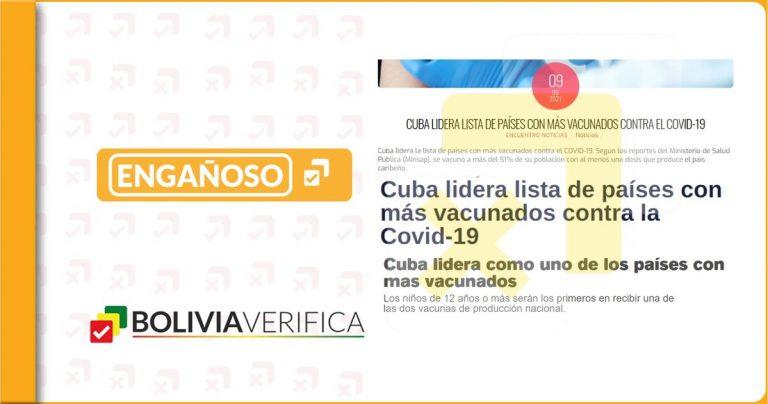 Cuba no es líder en la lista de países con más vacunados contra la COVID-19 a nivel mundial