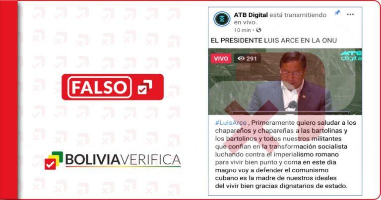 Manipulan una publicación de ATB y agregan un contenido que Luis Arce no dijo ante la ONU