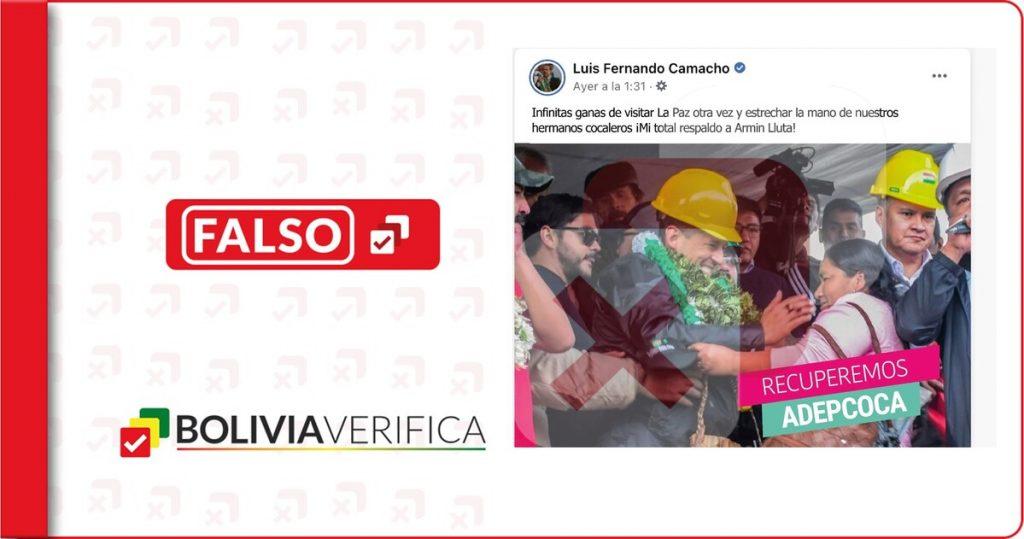 Camacho no expresó su apoyo a Armin Lluta a través de sus redes sociales