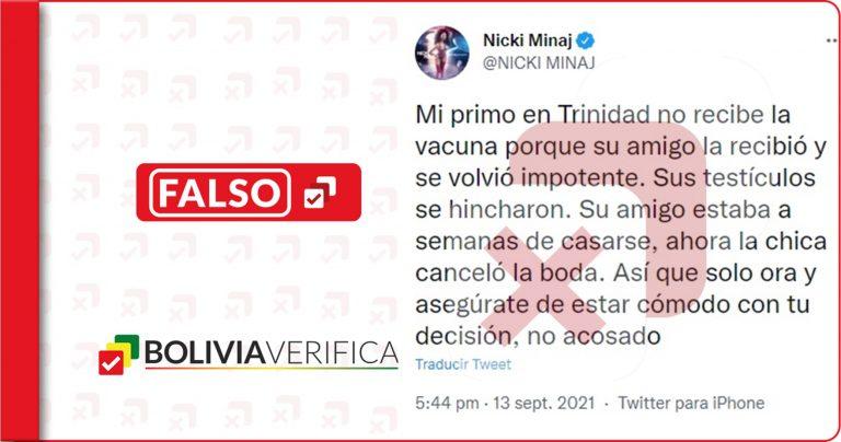 Las vacunas contra el coronavirus no ocasionan impotencia como sugiere Nicki Minaj