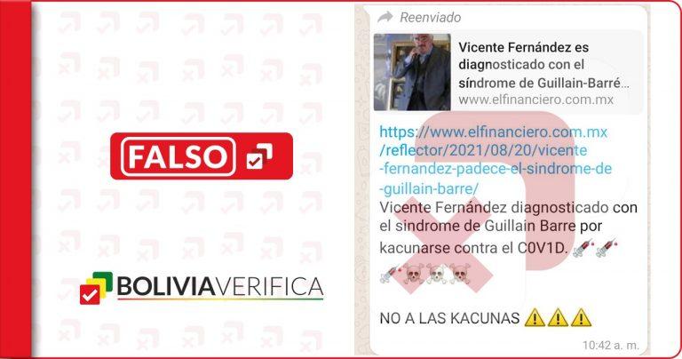 La salud de Vicente Fernández no tienen relación con las vacunas contra el coronavirus