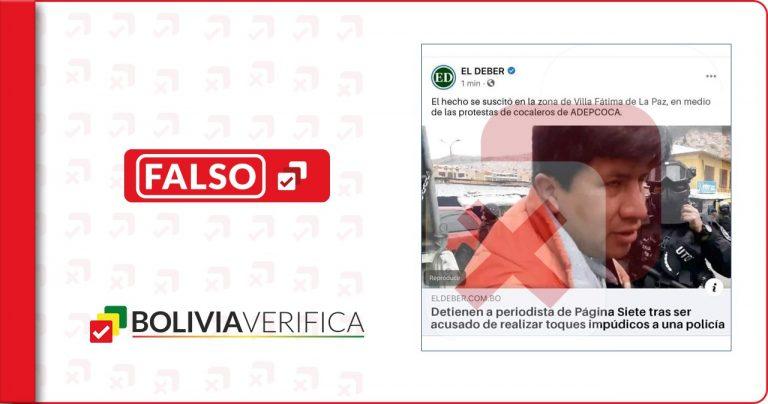 Manipulan imagen de El Deber para desinformar sobre detención de periodista de Página Siete